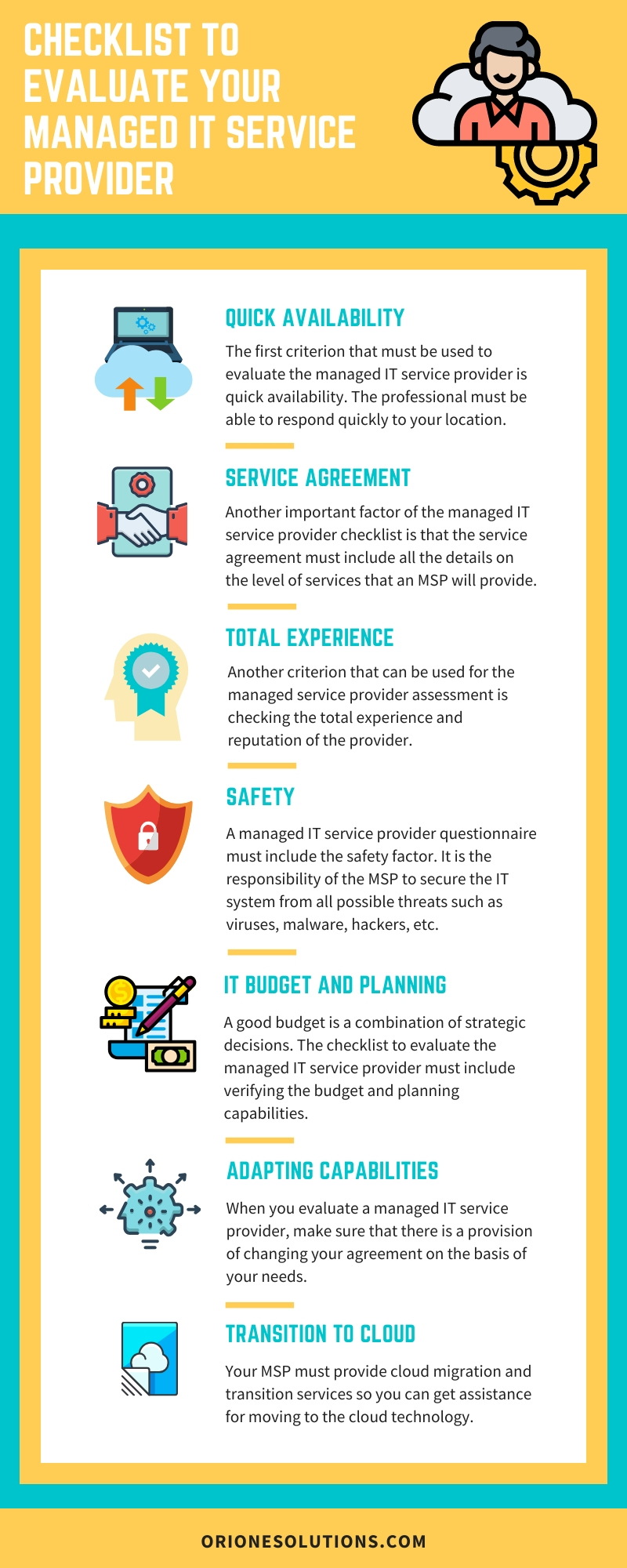 Checklist to evaluate Managed IT Service Provider
